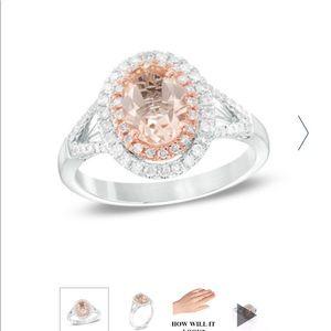Oval morganite and 1/3 carat diamond ring